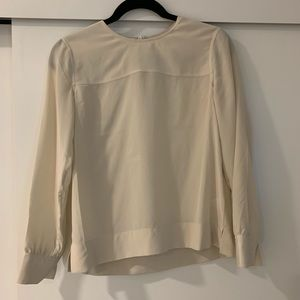 Everlane Cream Silk Long-Sleeve Blouse